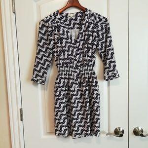 Shoshanna blue and gray print dress